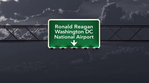 4K Passing Washington DC Reagan USA Airport Sign At Night With Matte 3 Neutral stock footage