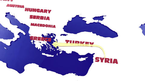 4 K Way of the Syrian Migrants Refugees to Europe in 2015 v 2 2 stylized Animation