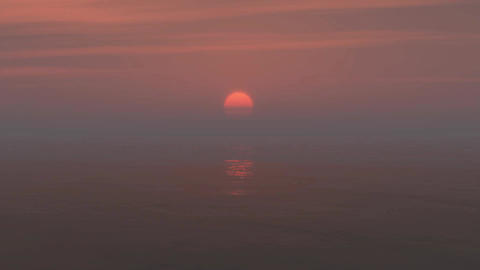 pink sunset with sea Animation