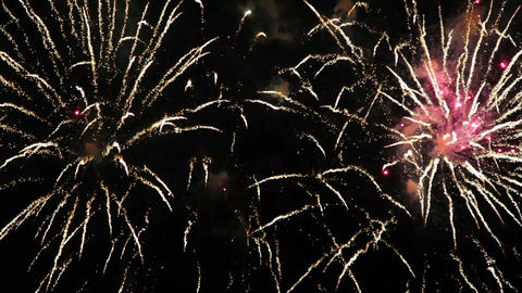 New Year Fireworks Flashing In The Night Sky stock footage