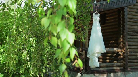 wedding dress hanging Footage