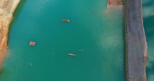 sideways birdseye aerial - chiangmai quarry Footage