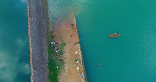 4k aerial pan and land - Chiangmai quarry Footage