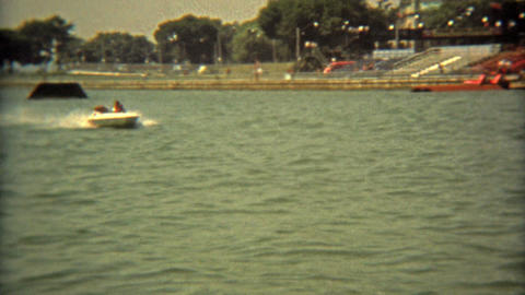 TORONTO, CANADA 1975: Latest speedboat showcase in water stadium park Footage