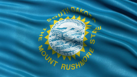 4K South Dakota state flag seamless loop Ultra-HD Animation