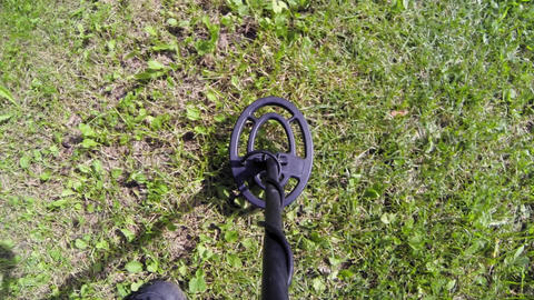 POV shot of metal detecting on green grass Live Action