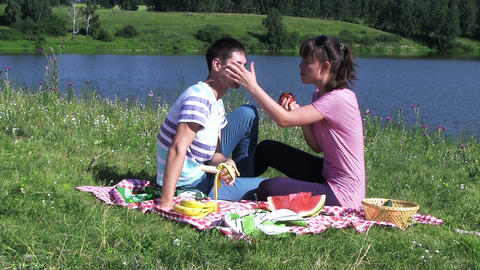 Happy Couple Have Picnic Outdoor Stock Video Footage
