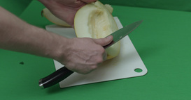 Cook Sliced Melon On A Cutting Board stock footage