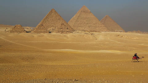 Great pyramids at Giza Cairo in Egypt Live Action