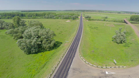 Aerial View On Road With Cars stock footage