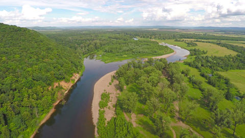 flying over summer river, Russia, South Ural Footage