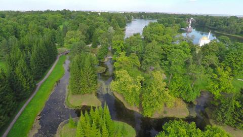 Flying up over Catherine park, Tsarskoe Selo Footage