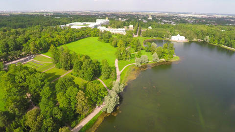 Flying over Catherine park and Palace Footage