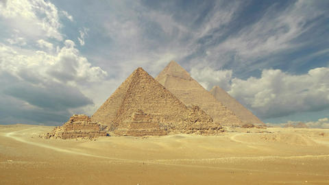 clouds over great pyramids at Giza, Egypt, 4k Footage