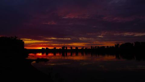 river sunset landscape, timelapse Footage