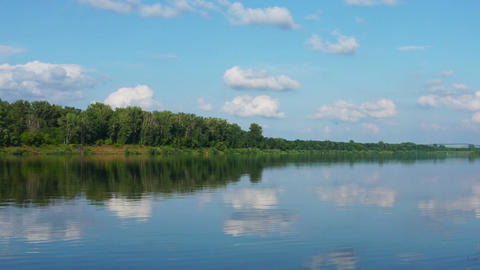 landscape with calm river and clouds Footage