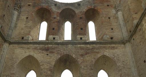 san galgano abbey interior 03 Stock Video Footage