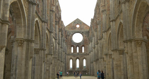 San Galgano Abbey Interior Navata 02 stock footage
