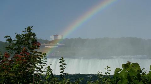 rainbow above niagara falls Footage