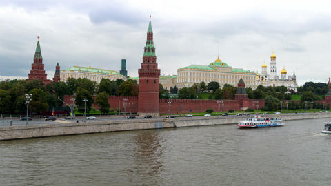 Moscow Kremlin, Floating Crafts, Autumn 2015 Timelapse stock footage