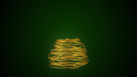 Christmas Tree Made Of Gold Wire Stock Video Footage