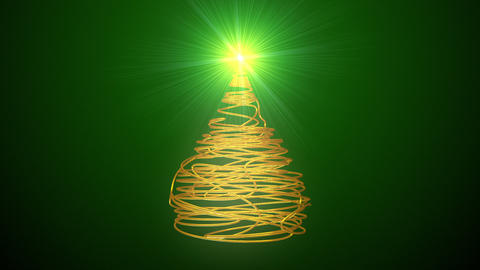 Christmas Tree Made Of Gold Wire Animation