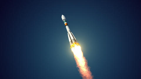 "Carrier Rocket ""Soyuz Fregat"" Takes Off Animation"