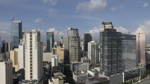 Summer Sky Over Makati, Metro Manila - Philippines Timelapse stock footage