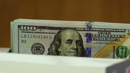 Counting Machine And US Dollars. Close Up stock footage