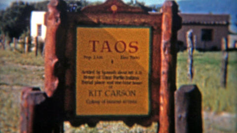 1955: Vintage road signs of New Mexico while on road trip holiday Footage