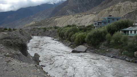 Full-flowing Mountain Nepal River stock footage