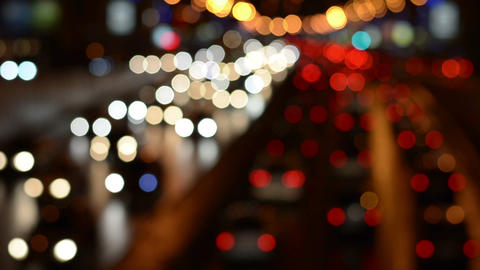 Defocused Night Freeway Scene stock footage