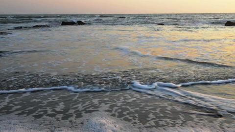 Calm evening surf at Atlantic Ocean coastline Footage