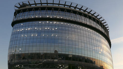 The New Shopping Center Glass In Moscow In September 2015 Evening.UHD stock footage