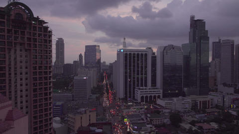 Twilight panning shoot of Makati Skyline .(Metro Manila - Philippines) Footage