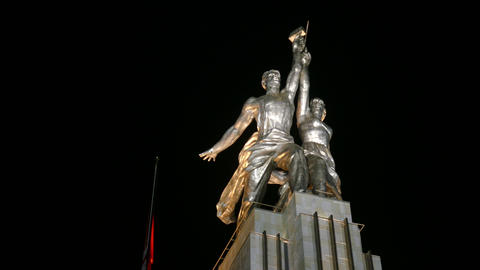 Worker and Collective Farm monument in Moscow, a symbol of socialism Footage