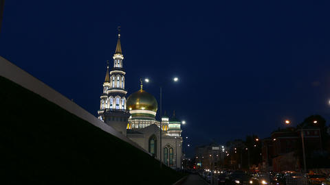 New Mosque In Moscow Everning In September 2015 UHD stock footage