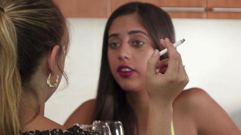 2 Passive Smoker Coughing Near Woman Smoking Cigarette Footage