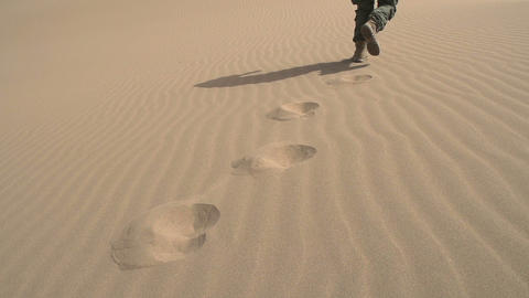Infantryman is Moving on the Sand HD Footage