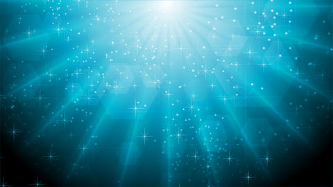 Abstract blue sparkling video animation with beams Animation