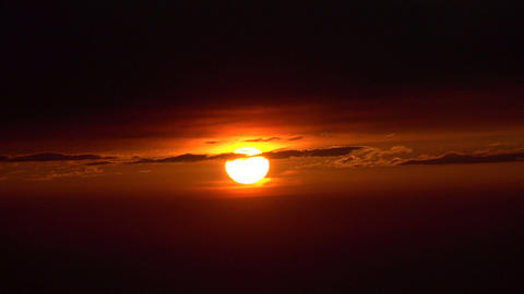 Sun Goes Below The Horizon HD stock footage