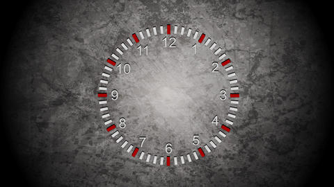 Abstract clock on grunge wall video animation Animation