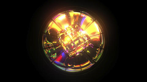 Kaleidoscope: Cube and Mirror 3D Model, Rainbow Colours, 6 second Loop Footage