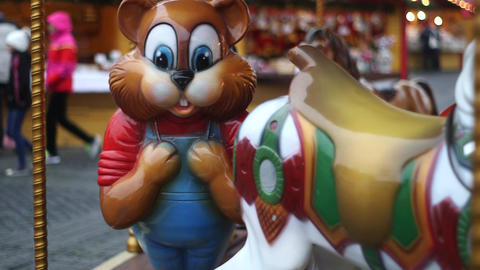Bear Carousel In Christmas Fair stock footage
