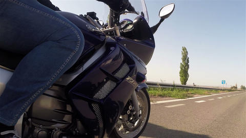 Motorcycle On The Road 2 stock footage