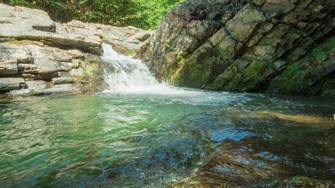 Waterfall In Rocks Footage