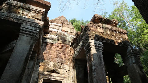 Stone structures in Angkor Thom temple complex, Siem Reap, Cambodia Footage
