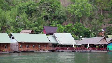 Bungalows on the Kwai river, northwestern Thailand Footage