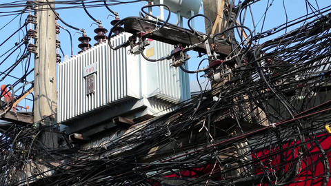 Transformer and multitude of electrical wires Footage