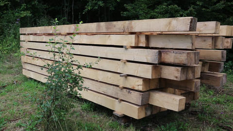 Wooden squared timbers Footage